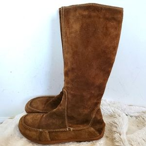 Zara Brown Suede Moccasin Style Mid Calf Boots 7